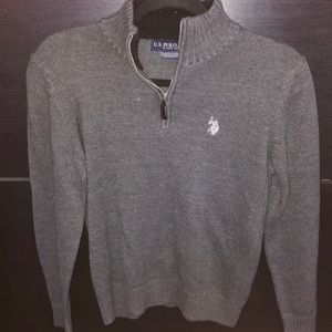 US polo Assn 1/4 Zip Grey Youth M (10/12) sweater